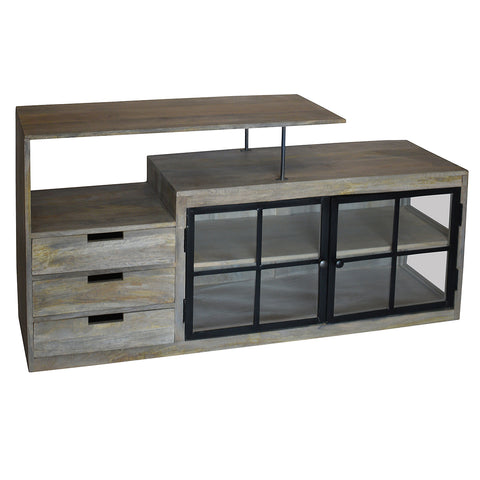 Kama Iron and Wood Buffet, Grey Brown