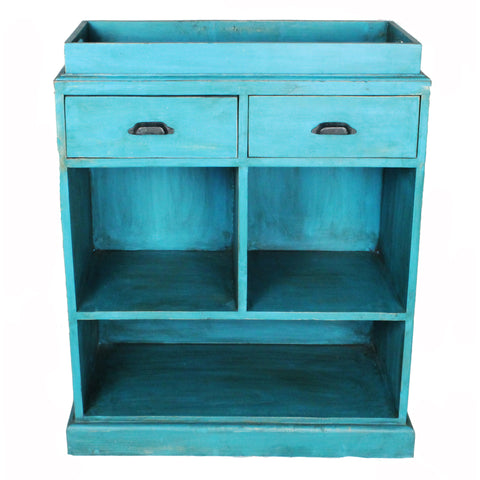 Bar Cabinet with Removable Tray, Antique Blue Distress