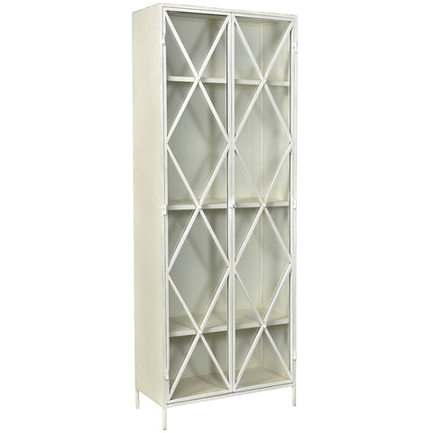 Thurman Iron & Glass Cabinet, White
