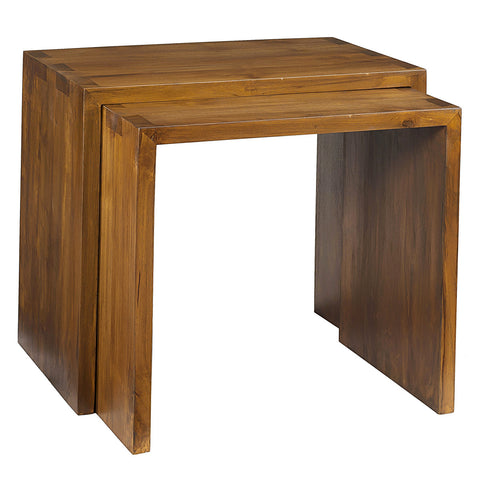 Avalon Teak Nesting Tables, Brown