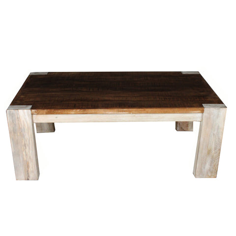 Linnea Coffee Table, Whitewash with Natural Top