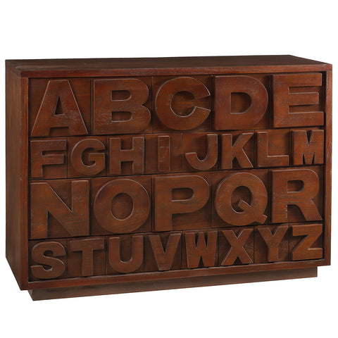 Alphabet Dresser,  Light Mahogany