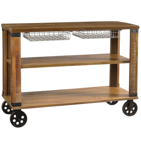 Thorne Metal & Wood Console, Rustic Gray Wash