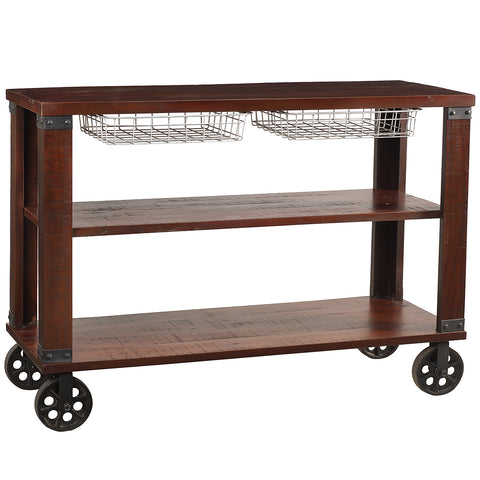 Thorne Metal & Wood Console, Rustic Tobacco