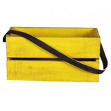 Planter Box Small with Leather Strap, Yellow