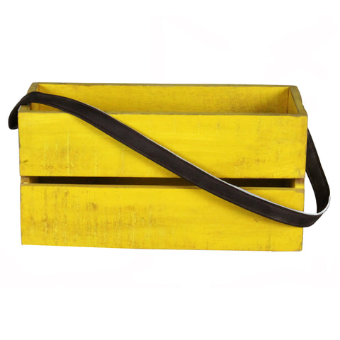 Planter Box Medium with Leather Strap, Yellow