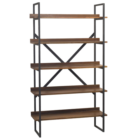 Gus Metal & Wood Bookcase, Dark Gray Wash