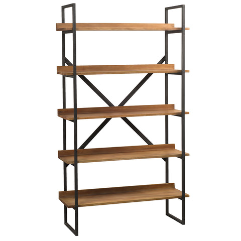 Gus Metal & Wood Bookcase, Gray Wash