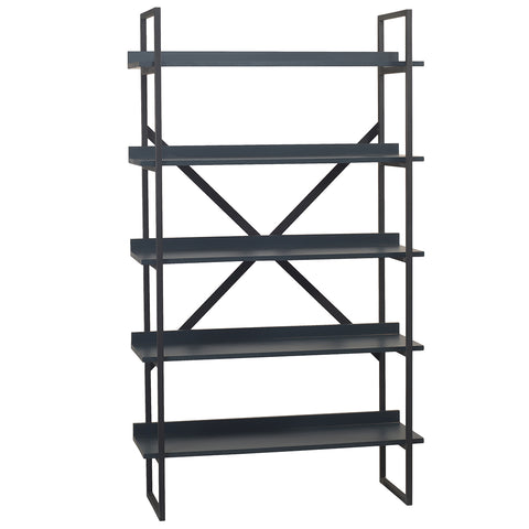 Gus Metal & Wood Bookcase, Navy