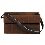 Planter Box Large with Leather Strap, Dark Natural