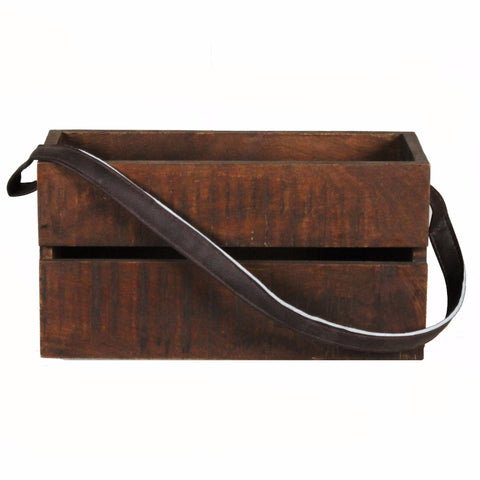 Planter Box Medium with Leather Strap, Dark Natural