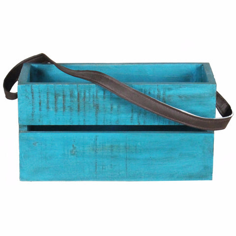 Planter Box Medium with Leather Strap, Blue Distress