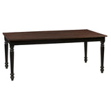 Meredith Turned Leg Dining Table, Dark Mahogany Top & Black Base
