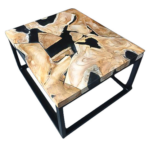 Nadia Resin Wood Square Side Table with Metal Legs