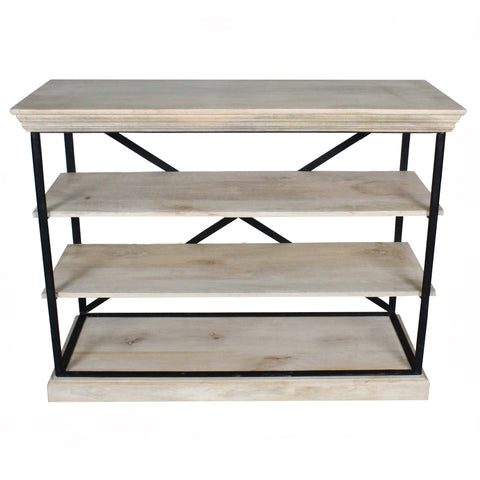 Olivia Iron Bookshelf, Metal with Whitewash