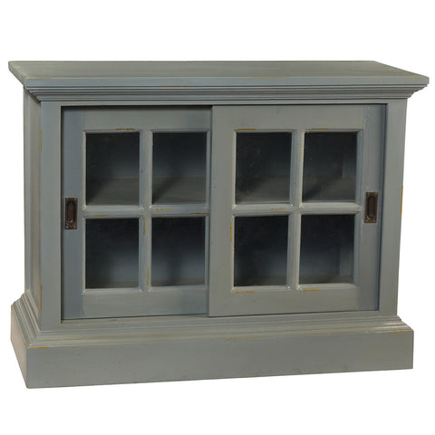 Barlow Sliding Glass Door Cabinet, Slate Blue