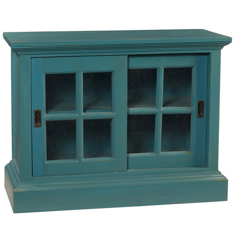 Barlow Sliding Glass Door Cabinet, Teal