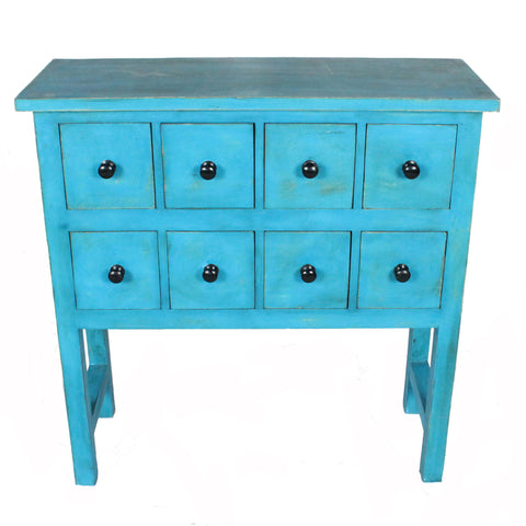8 Drawer Console, Antique Blue Distress