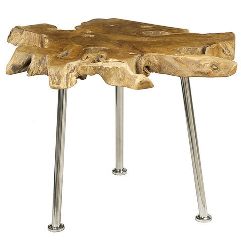 Gable Teak Root Table with Stainless Steel Legs