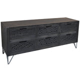 Adalet Wood & Iron Media Stand, Black