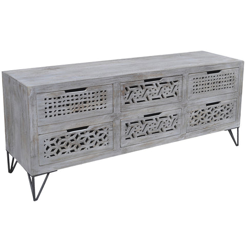 Adalet Wood & Iron Media Stand, Gray