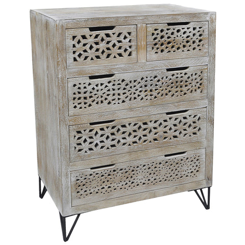 Adalet Wood & Iron 5 Drawer Chest, Light White