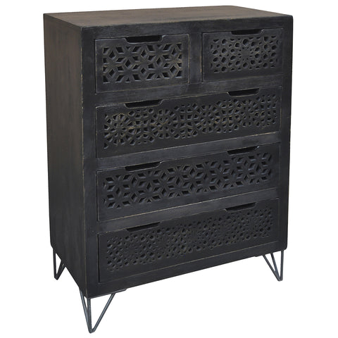 Adalet Wood & Iron 5 Drawer Chest, Black