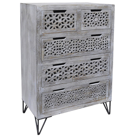 Adalet Wood & Iron 5 Drawer Chest, Gray