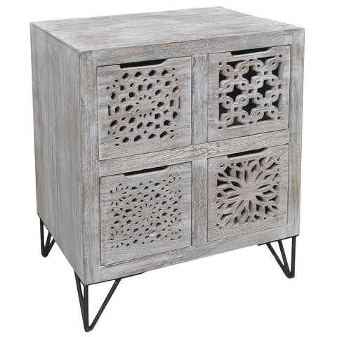 Adalet Wood & Iron 4 Drawer Chest, Light White