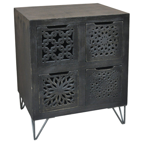 Adalet Wood & Iron 4 Drawer Chest, Black