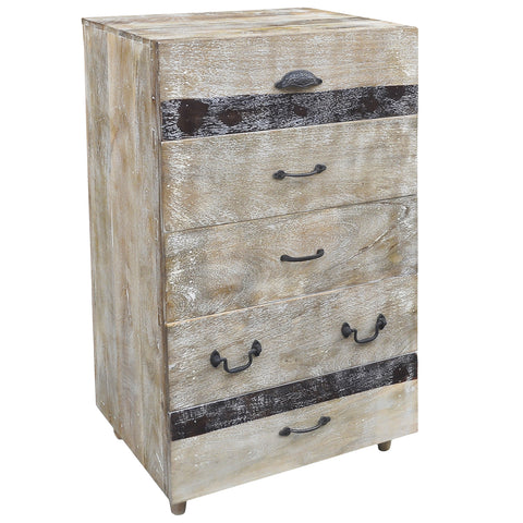 Zandar Wooden 5 Drawer Chest, Natural