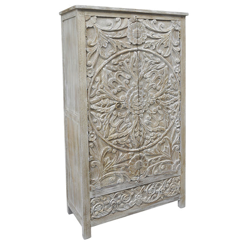 Rahele Wooden Armoire, Light White