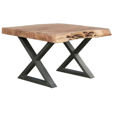 Mette Live Edge X Base End Table, Raw Metal