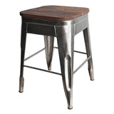 "Galvan Iron Wood Stool 18"" High, Antique Nickel"