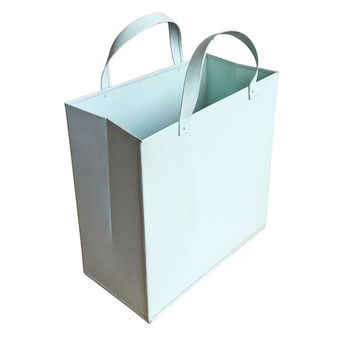 Metal Basket with Metal Handles Sky Blue, Medium