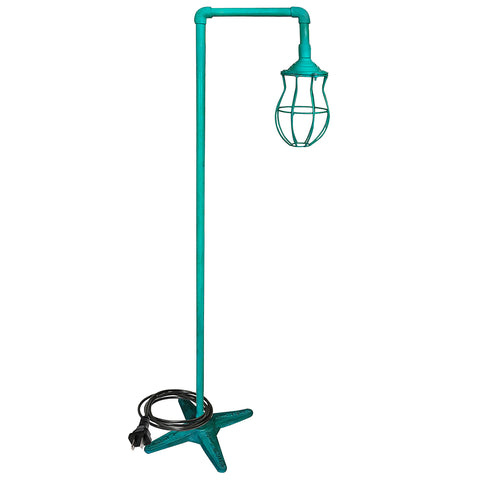 Single Cage Iron Floor Lamp, Blue-Green