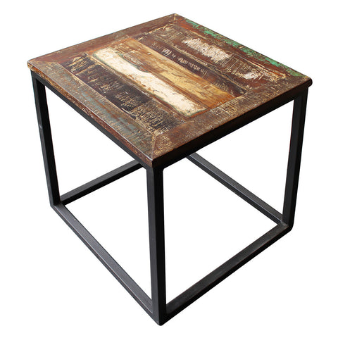 Surat Iron & Wooden Side Table, Gun Metal with Recycled Wood