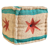 Chicago Flag Cube Ottoman Pouf