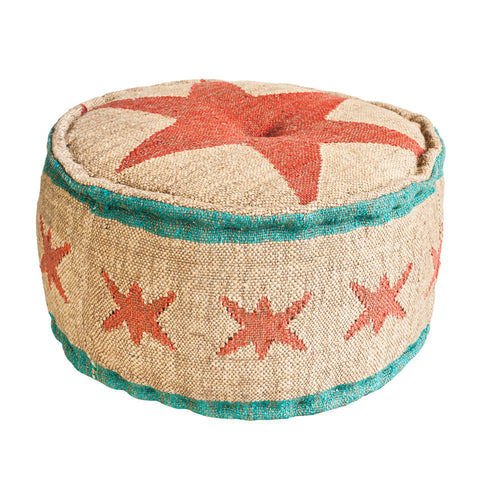 Chicago Flag Round Ottoman Pouf
