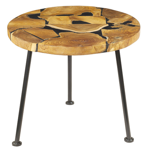 Nadine Resin Wood Round Coffee Table with Metal Legs