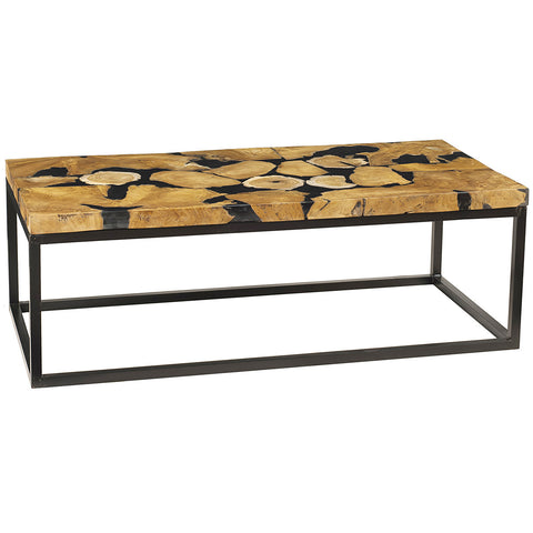 Naak Resin Wood Coffee Table with Metal Legs