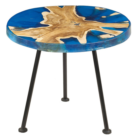 Nahla Resin Wood Side Table, Blue