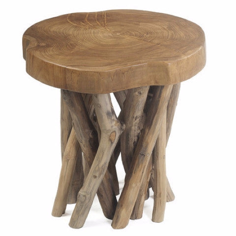Round Branch Teak Stool Honey