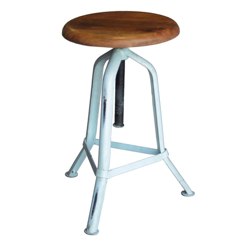 Fernton Iron & Wood Stool, Sky Blue