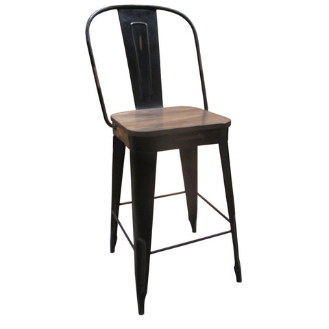 "Frenchy Counter Stool - 25"" seat, Black"