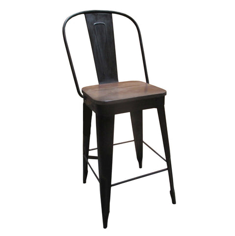 "Frenchy Counter Stool - 25"" seat, Carbon Wash"