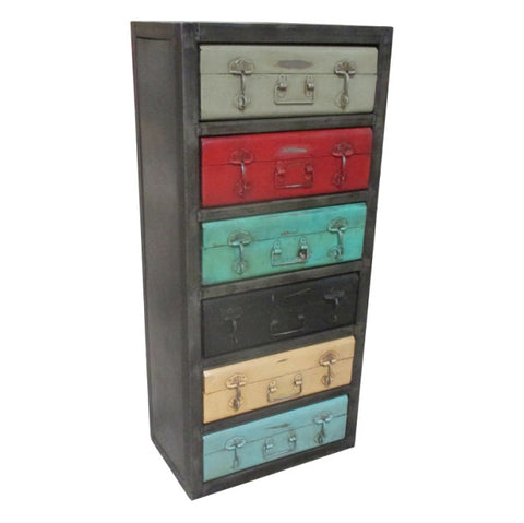 Iron Suitcase Cabinet, 6 Drawer