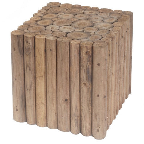 Square Branch Teak Stool, Honey