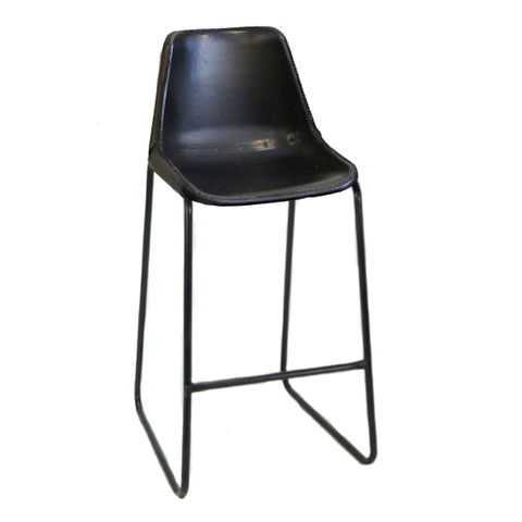 "Bowman Leather Stool 31"", Black"