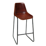 "Bowman Leather Stool 31"", Brown"